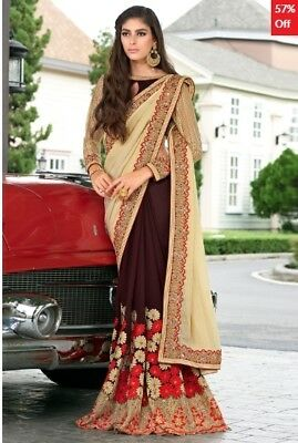 Beige and Brown Georgette Embroidered Saree with Blouse Piece TR-SR-KP10-TSN8708