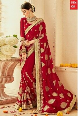 Maroon Georgette Embroidered Saree with Blouse Piece TR-SR-MGN-TSN1203