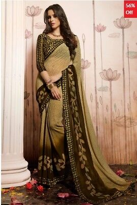 Beige and Olive Georgette Printed Saree with Olive Blouse Piece TR-SR-HS-31029