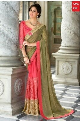 Pink and Olive Georgette Saree with Art Silk Blouse Piece TR-SR-JM7-TSN97054