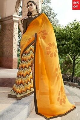 Yellow Georgette Printed Saree with Art Silk Blouse Piece TR-SR-VN-1709