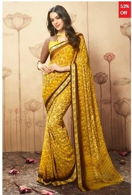 Yellow Georgette Printed Saree with printed Blouse Piece TR-SR-BV-TSNBL1605