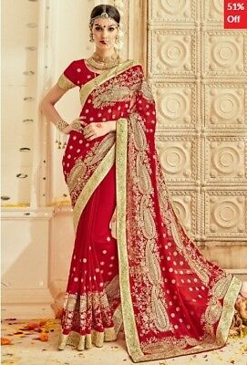 Red Georgette Embroidered Saree with Blouse Piece TR-SR-MGN-TSN1206