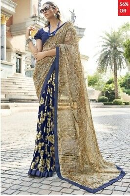 Beige and Blue Georgette Printed Saree with Art Silk Blouse Piece TR-SR-VN-1705