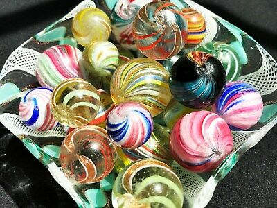 Gorgeous NEAR PERFECT Antique German Handmade Swirl Marble Collection Lot