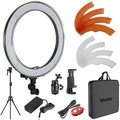 Vivitar 18 inch Outer Dimmable SMD LED Ring Light Lighting Kit + Filters Tripod