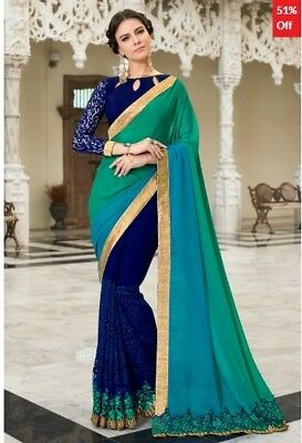Blue and Green Georgette Embroidered Saree with Blouse Piece TR-SR-JM7-TSN97047