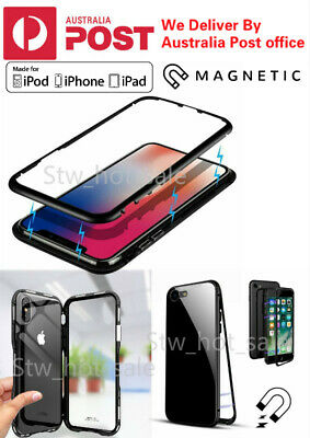 For iPhone X/XS/MAX 6/7/8 Plus Magnetic Metal Frame Tempered Glass Phone Case CR