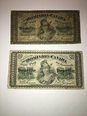 Lot of 2 Dominion of Canada 25 Cents Twenty Five Bank Notes