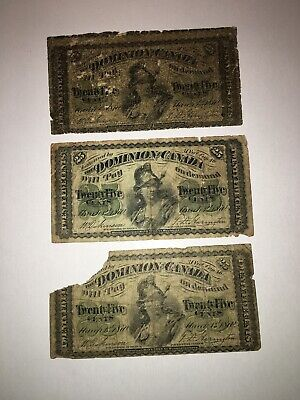 Lot of 3 - Dominion of Canada 25 Cents Notes