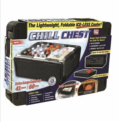 CHILL CHEST Lightweight Foldable ICE-LESS Collapsible 41qt. Cooler AS SEEN ON TV