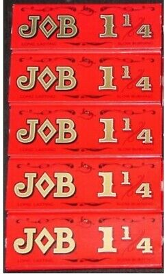 5 Packs JOB Red 1-1/4 Rolling Papers 1.25 slow burning 24 Lvs/pk $.97/pack! USA
