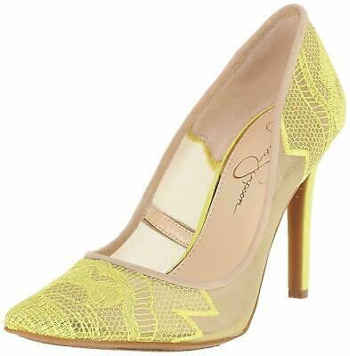 faabfc79b64 JESSICA SIMPSON CAMBA Lace Pointed Toe Pumps Electric Yellow Cream 6 NEW
