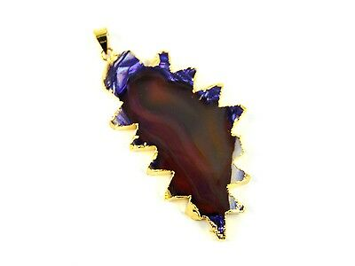 18K Gold Plated Slice Window Brown Agate Druzy Pendant Alloy Overlay Jewelry