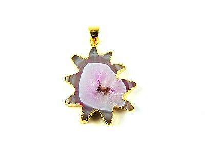 18K Gold Plated Slice Window Pink Agate Druzy Pendant Alloy Overlay Jewelry