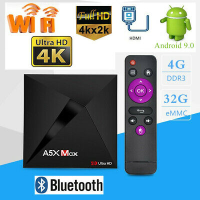A5X MAX TV Box 4G+32G Home Smart RK3328 Quad Core WiFi Android 9.0 Media Player