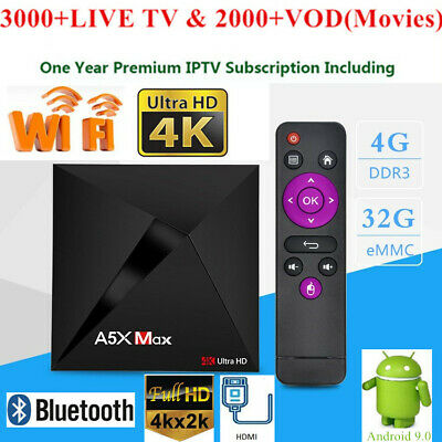 A5X MAX TV Box 4G+32G Video RK3328 Quad Core WiFi Android9.0 +1Year IPTV Service