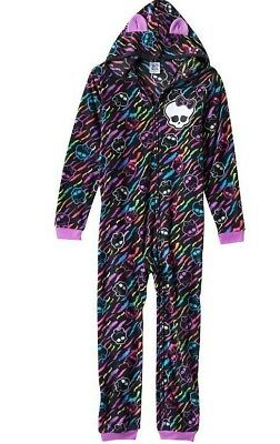 Monster High Girls One Piece Fleece Pajamas Hooded Black Pink 6 6X Small Sleep