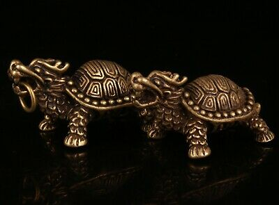 Rare Chinese Bronze Hand-Carved Tortoise Statue Figurine Pendant Old Collection