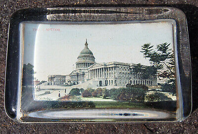 "Vintage Glass Paperweight ""The Capitol"" Washington DC with Mirror"