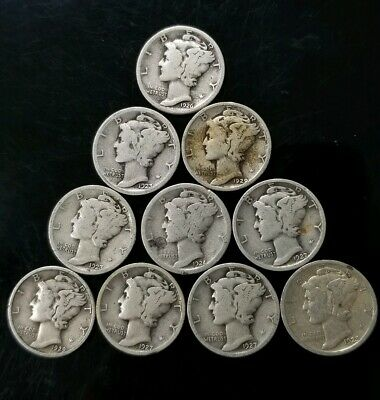 1920's Mercury Dimes Lot of 10 - 90% Silver - US Coins [SC8294]