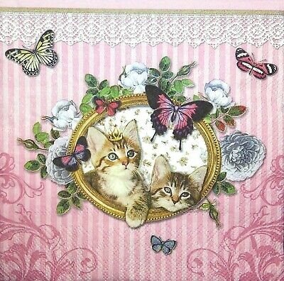 4 Single Paper Napkins for Decoupage Little Flowers Pink