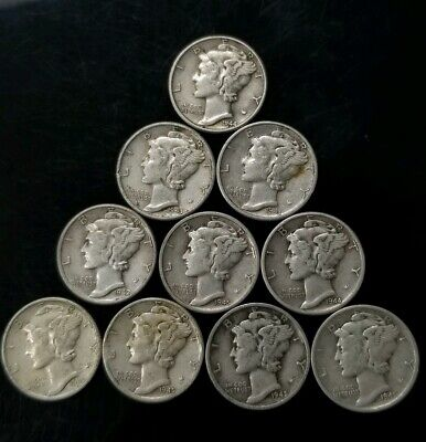 1940's Mercury Dimes Lot of 10 - 90% Silver - US Coins [SC8297]