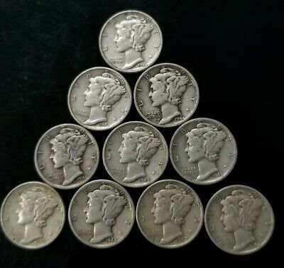 1940's Mercury Dimes Lot of 10 - 90% Silver - US Coins [SC8298]