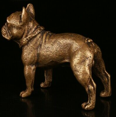 Chinese Bronze Hand Carving Dog Statue Gift Collection Lucky Decoration