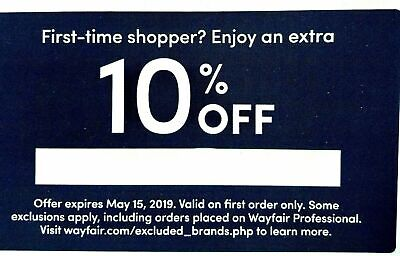 --10% OFF FIRST ORDER--  Wayfair coupon exp 5/31/2019