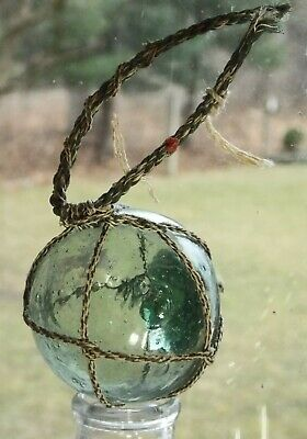 Vintage Small Signed Stamp Japanese Fishing Float Orig. Netting Lots of Bubbles