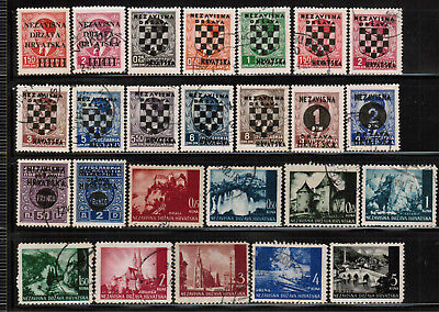 CROATIA Stamps Collection M & U Castle Wheat Soldier Mailman River Arms CRO1