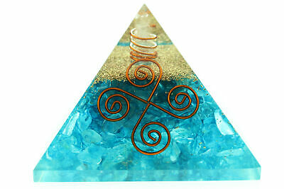 "Blue Onyx Orgone Pyramid NEW 4 Coil Star LG 70mm 2.75"" EMF Protection Orgonite"
