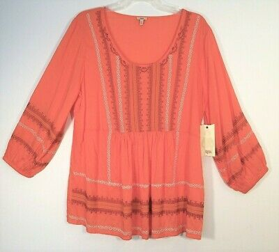 03d05835d1 NWT Women s REBA Southwest Attire EMBROIDERED Smock SPRING Top M L XL  88  MSRP
