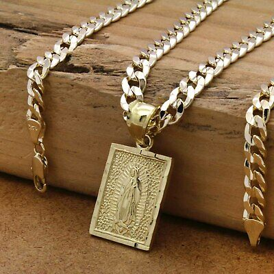 """Mens 18k Gold Plated  Brass Guadalupe  Pendant 6mm 24"""" Cuban  Chain(H)"""