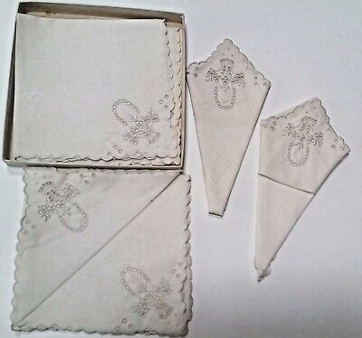 """Set of 6 Six Vintage Portugal Hand Embroidered Table Napkins 11.5"""" Cloth Linen"""