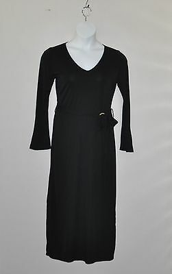 M by Marc Bouwer Matte Jersey Belted Dress Size 8 Black