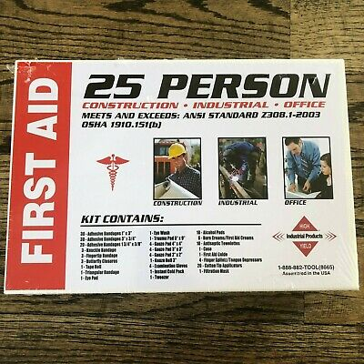 25 Person First Aid Kit166 pc Construction Industrial Office OSHA/ANSI Approved