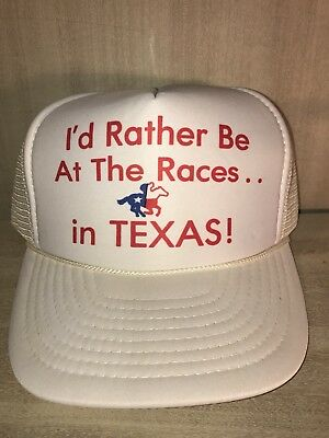 Vintage-I'd Rather Be At The Races In Texas~Mesh~Trucker Hat~Cap-Snapback