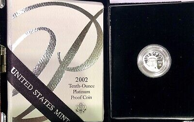 2002-W West Point 1/10 Oz Proof Platinum American Eagle $10 Coin US Mint Box COA