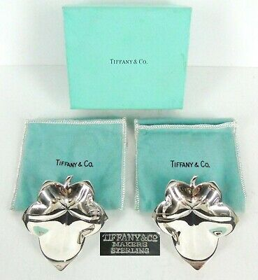 TIFFANY & Co MAKERS 2 STERLING SILVER CANDY DISH LEAF SHAPE FOOTED w/Box & Bag