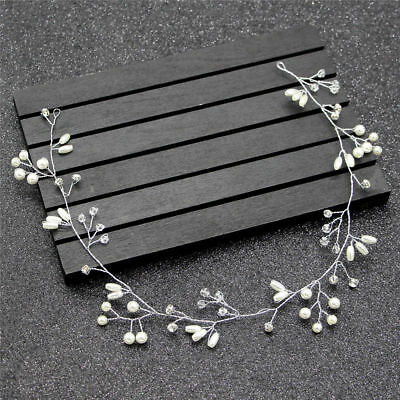35cm Crystal Pearl Wedding Bridal hair Accessories Headband Silver Garland