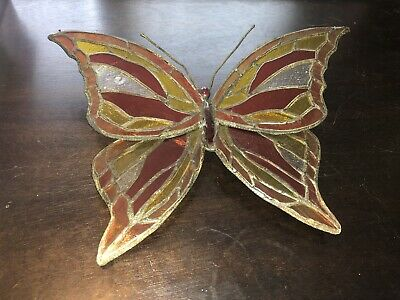 Butterfly Stained Glass, Sun-catcher Table Decor Figurine Red Orange Yellow