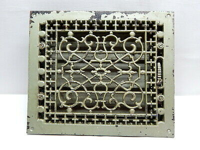 Antique Cast Iron Victorian Floor Register Heating Grate / Complete w/ Louvers