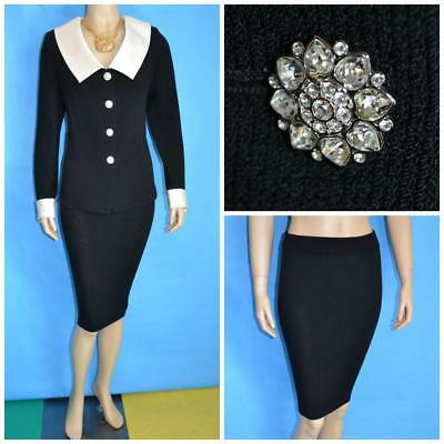 St John Evening Knit Black Jacket Skirt L 10 12 2pc Satin Trims Collar Buttons