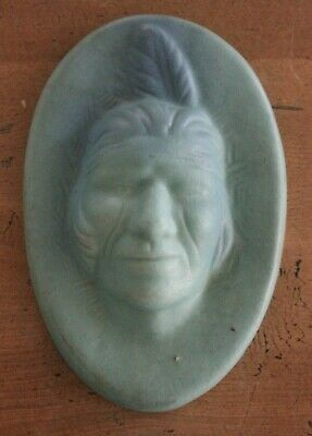 Vintage Van Briggle Pottery Indian Head Turquoise Plaque Big Buffalo Signed