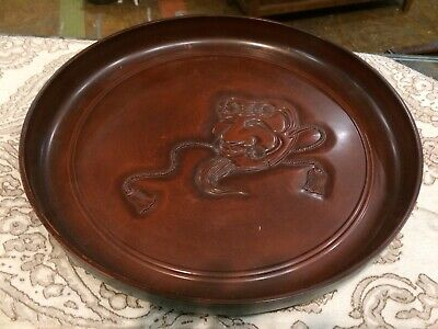 Antique Vintage Asian Japanese Round Lacquer Serving Cocktail Tray Size 13""