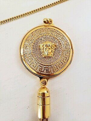 Gianni Versace Medusa Crystal Medallion Necklace Chain- Authentic! US MSRP $925