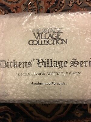 "Dept 56 Dickens' Village Series ""T. Puddlewick Spectacle Shop"" - NIB"