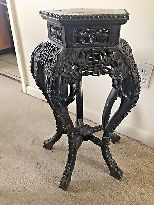 Chinese 19th Century Carved Hardwood Stand Marble Center SUBMIT BEST OFFER!!!!!